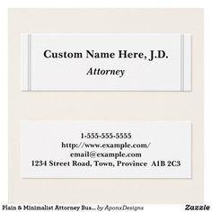 Shop Plain & Minimalist Attorney Business Card created by AponxDesigns. Simple Business Cards, Business Card Design, Attorney At Law, Card Designs, Lawyer, Minimalist, Cards Against Humanity, Names, Card Templates