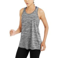 Danskin Womens Loose Fit Racerback Tank Top Pleated Back Detail Grey Marbled XL #DanskinNow #TankCami #fitnessexercise