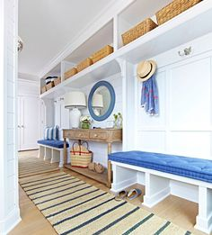 Beach Cottage with Crisp and Fresh Coastal Interiors. Bench Cushion: Home Decorators. Runner: Nourison Paradise Garden Indigo Sisal Runner – Overstock – $98 each