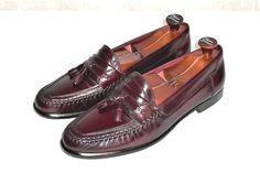 Giorgio Brutini Burgundy Leather V Cleat Tassel Dress Loafer  Men's 12 D #GiorgioBrutini #LoafersSlipOns