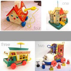 Vintage-Fisher-Price-castle,-camper,-shoe,-house