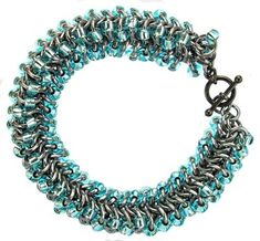 Beaded Round Maille Bracelet by Sarah Austin. Add seed beads to your jump rings to make this chunky cuff. Free tutorial: http://www.beadsisters.co.uk/library/pages/learnaweave98_beaded_round_maille.htm