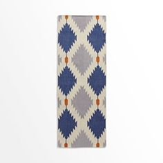 Phoenix Wool Dhurrie Rug - Regal Blue #westelm: may also have too much blue and gray for entrance