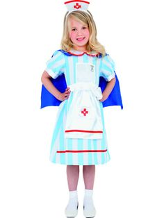 Girls Vintage Nurse Costume includes Blue Stripy Nurse Dress Blue Cape and Nurse Hat on Headband Choose Size from drop down box below - Size Small to