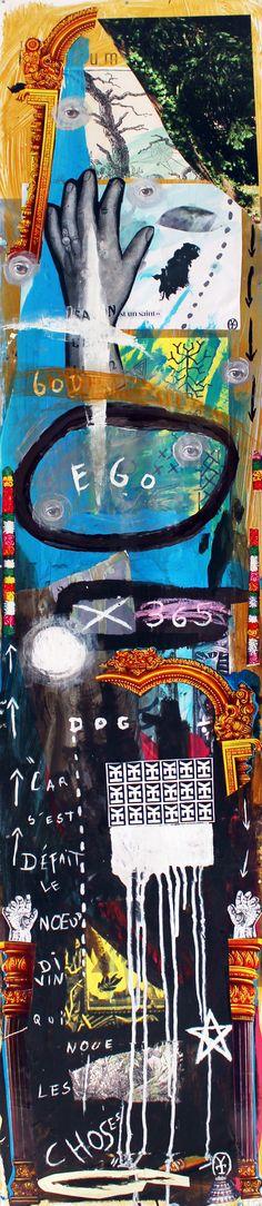 GOD EGO DOG - Acrylic, collage on plastic paper - 2016