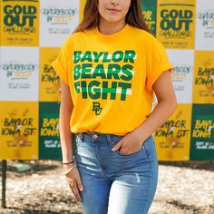 Gold Outfit, Baylor University, Green And Gold, Bears, Football, Game, Outfits, Tops, Fashion
