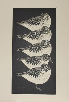 Sanderlings, linocut, Celia Lewis
