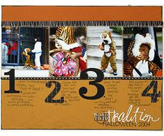 What a wonderful scrpabooking page. Visually appealing and draws you in. (Halloween scrapbooking page layout idea, multiple photos) Scrapbook Page Layouts, Scrapbook Pages, Scrapbooking Ideas, Halloween Scrapbook, Funky Fashion, Making Memories, Halloween Costumes For Kids, Just Love, Card Making