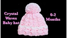Crystal waves crochet stitch newborn baby hats #129 Easy Crochet Baby Hat, Crochet Baby Mittens, Crochet Baby Hat Patterns, Crochet Ball, Crochet Hat For Women, Crochet Beanie Hat, Crochet For Kids, Crochet Stitches, Crochet Blankets