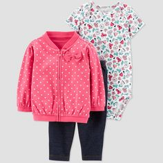 Baby Girls  3pc Dots Floral Short Sleeve Cotton Cardigan Set - Just One You  made 71db13a82