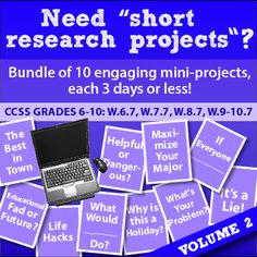 "$- Continue the fun with 10 NEW relevant projects to hook students into research! Complete CCSS ""Short Research Projects"" to liven up your quarter or semester."