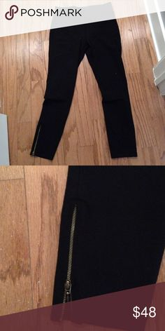 Max studio leggings size S Black thick leggings with adorable zippers on the side can easily be worn as skinny  pants Max Studio Pants Leggings