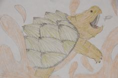 Alligator snapping turtle hunting for fish. I drew this in 6th grade.
