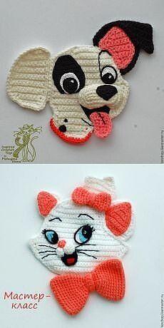 Crochet Applique Patterns Free, Crochet Motifs, Crochet Animal Patterns, Stuffed Animal Patterns, Baby Knitting Patterns, Crochet Toys, Crochet Stitches, Knit Crochet, Knitting Toys