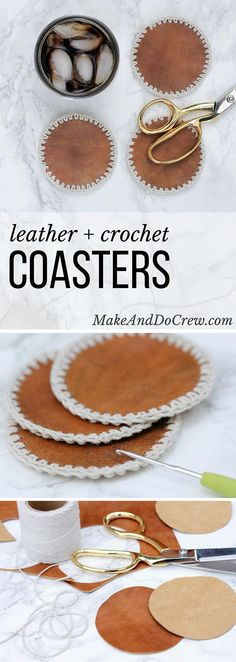 These DIY leather + crochet coasters can be made in an hour and are a perfect DIY gift for men. Make them for Father's Day, Christmas or just for yourself!