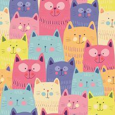 Papel de Parede Autocolante Gatos Coloridos Infantil 5369