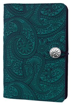 Leather Journal Cover | Diary | Paisley in Teal