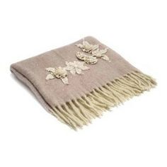 Belle & June - Light Pink Mohair Throw with Cream Flowers. This is perfect!