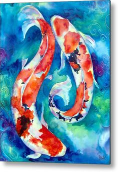 Two Koi Fish by Christy Freeman Stark , Two Koi Fish Painting by Christy Freeman - Two Koi Fish Fine Art Prints and Posters for Sale. Koi Fish Drawing, Fish Drawings, Koi Art, Fish Art, Watercolor Fish, Watercolor Paintings, Fish Paintings, Mermaid Paintings, Tattoo Watercolor