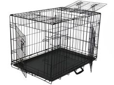 GoPetClub 3-Door Metal Pet Crate, 24-Inch ** Tried it! Love it! Click the image. : Dog crates