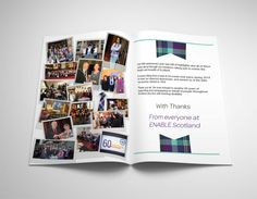 ENABLE SCOTLAND THANK YOU CARD – Double page spread of the Thank You Card, by thanking everyone for the dedicated memories.