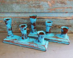 Wooden Candle Holders Painted Turquoise by turquoiserollerset, $29.00
