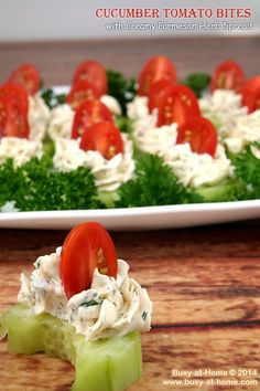 Cucumber Tomato Bites with Parmesan Herb Spread are superbly simple and fmouthwateringly delicious! Get the recipe at Busy-at-Home (finger food appetizers vegetarian) Finger Food Appetizers, Appetizers For Party, Appetizer Recipes, Shower Appetizers, Healthy Snacks, Healthy Eating, Healthy Recipes, Easy Recipes, Fingers Food
