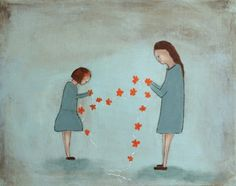 Children's wall art. mother and daughter art print. by KatHannah