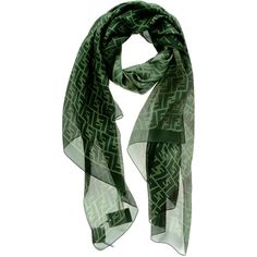 FENDI Verde Green Silk Scarf ($245) via Polyvore