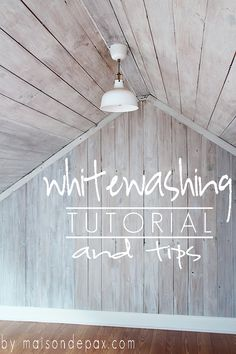 Whitewash Wood A clear tutorial and helpful tips on how to give wood a bright, beautiful whitewash. at A clear tutorial and helpful tips on how to give wood a bright, beautiful whitewash. Painted Furniture, Diy Furniture, Whitewashing Furniture, Furniture Refinishing, Handmade Furniture, Furniture Design, Wood Ceilings, My New Room, Home Projects