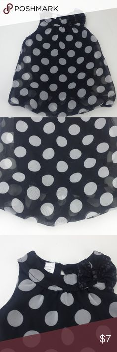 """24 M black white polka dot bow sleeveless tunic J1 Girls 24 month george black white polka dot bow sleeveless tunic top J1 Size: 24 month Color:   black and white  Material: body - 100% polyester Armpit to Armpit:  10"""" Top of Shoulder to Bottom: 13"""" *Measurements are approximate George Shirts & Tops"""