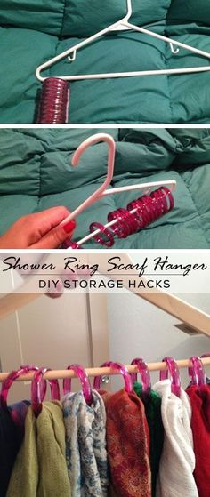Shower Ring Scarf Hanger - DIY Storage Ideas for Small Spaces I use shower rings on a hanger to store my belts (: Storage Hacks, Diy Storage, Scarf Storage, Recycling Storage, Cheap Storage, Creative Storage, Purse Storage, Budget Storage, Storage Solutions