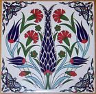 "8""x8"" Turkish Ottoman Ceramic Iznik Floral Pattern Tile Hot Plate Trivet"