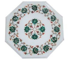 "12"" White Marble Side Coffee Table Top Malachite Rose Flower Mosaic Inlaid Decor #AgraHeritageMarbleCrafts #ArtsCraftsMissionStyle #BeautifulyTableDecor #MalachiteStones #RoseFlowerArt #WhiteCoffeeTableGift #CountertopsDecor #InlayWork #SideTableDecor #GivingTuesdayGift #BlackFriday2017SpecialGift"