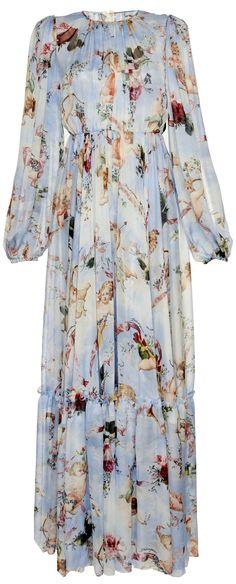 Cupid & Floral Printed Maxi Dress