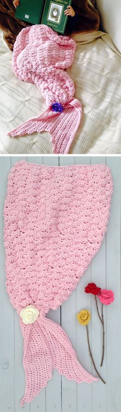 Crochet mermaid tail blanket - delight a young girl this Christmas holidays with a great handmade gift like this from Etsy!