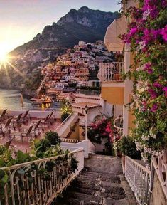 Evening in Positano,Italy . Positano is a cliff side Village on Italy's Amalfi Coast -By Italy-Landscape & art Places Around The World, The Places Youll Go, Places To See, Italy Places To Visit, Familienfreundliche Hotels, Destination Voyage, Europe Destinations, Honeymoon Destinations, Holiday Destinations