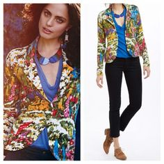 Anthropologie Ajuda Field Flower Sweater/Blazer Designed by Monogram. With a vibrant floral print. One button closure. Front pockets. Material: cotton, nylon, spandex. Hand Wash. Imported. All reasonable offers are welcome! Please make all offers through the offer button Anthropologie Jackets & Coats Blazers