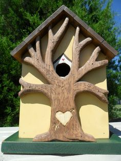 Birdhouse. Ha, ha what a good idea. All thats missing is a perch just below the hole & the initials on the tree of course ;)
