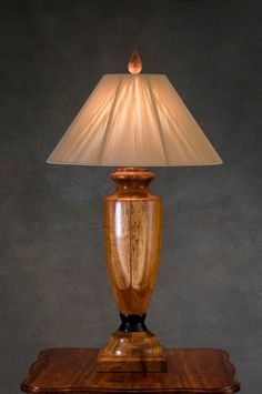 A delightful wood turned lamp and it's lampshade: also ... Wood Lathe Lamp Projects