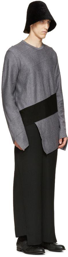 Comme des Garçons Homme Plus: Grey & Black Asymmetric Sweater | SSENSE