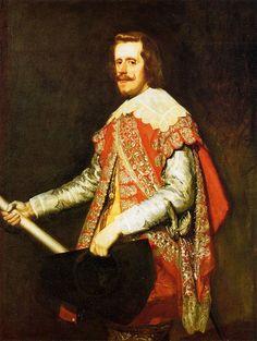 Retrato_de_Felipe_IV_en_Fraga,_by_Diego_Velázquez.jpg (840×1115)  Consta de un coleto -prenda que cubre desde los hombros a la cintura, abierto por delante- de mangas colgantes, un calzón y un cuello caído. Un elemento acorde con la escena es el espadín, del que se aprecia la empuñadura, también lo es el sombrero de tres picos que sostiene en la mano izquierda, otro símbolo militar y, por último, el bastón de mando, símbolo de autoridad.