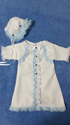Our mother is sewing old school! All by hand! She creates her dresses without patterns  the bonnets too. Here is her little boys Angel Gown. Created by Edie Hammomd