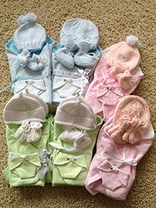 All sorts of angel baby clothing items: one day when it doesn't rip my heart apart to look at these, I will make some for Mount Sinai to give back.