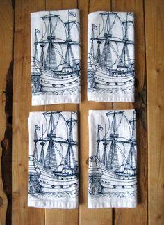 Screen Printed Organic Cotton Nautical Cloth Napkins - Eco Friendly Dinner Napkins. $20.00, via Etsy.