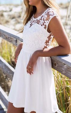 White Lace Insert Hollow A-Line Dress -SheIn(Sheinside) Mobile Site