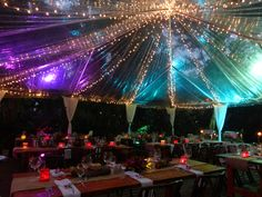 clear tent with lighting