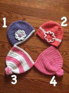Baby girl crochet hats por MelzMakings en Etsy