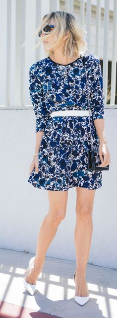 Blue Floral Dress Streetstyle by Damsel In Dior