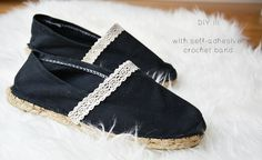 DIY: 3 ways to embellish your Espadrilles - I could SO do this with TOMS.